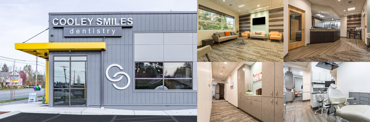 Collage showing front desk, lobby, and operatories of Cooley Smiles in Everett, WA